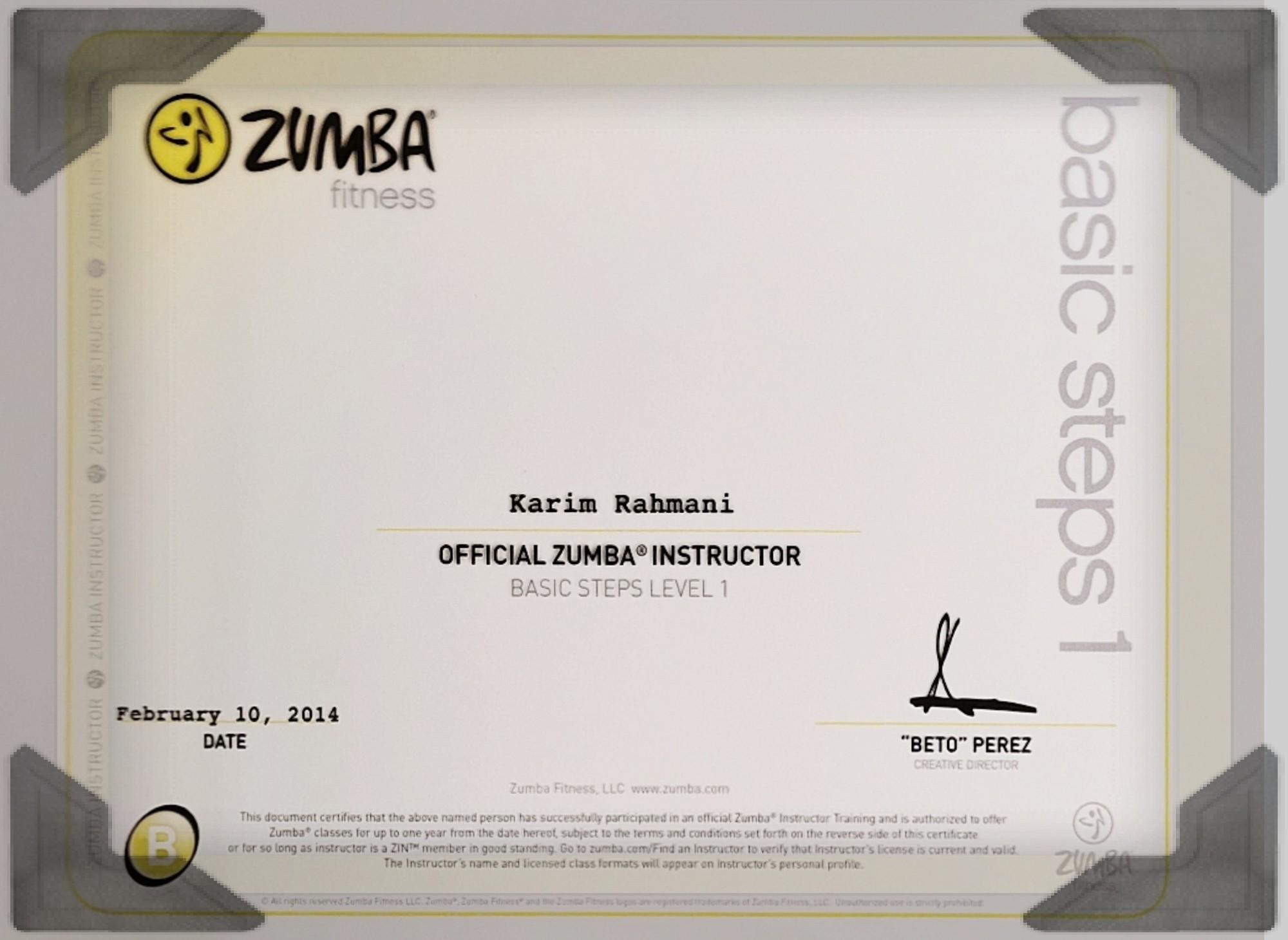 Karims Tanzschule Urkunde Zumba Fitness